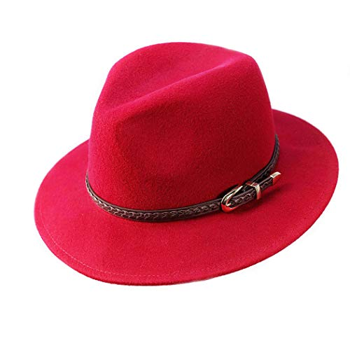 Verashome Felt Panama Hat-100% Wool Fedora Vintage Fit for Women and Men's Trilby (Red)