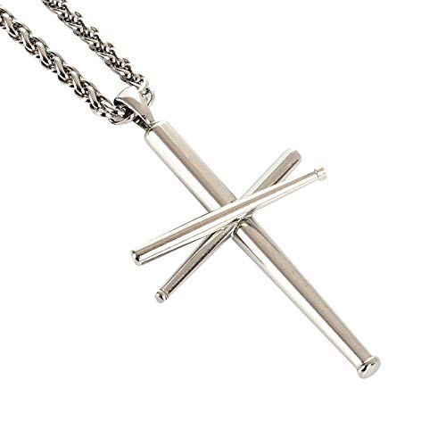 (AB Max Cross Necklace Baseball Bats - Stainless Steel Athletes Cross Pendant Sports Necklaces Gifts for Boy Men Women Teen Boys Girls 24