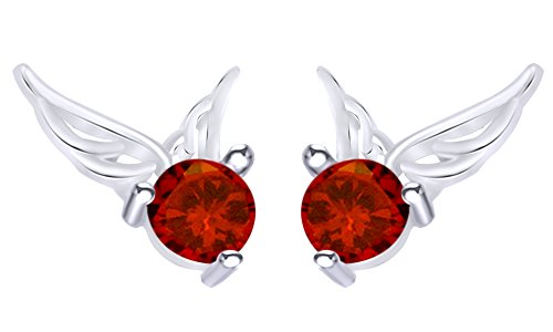 Round Cut Simulated Garnet Angel Wings Ear Stud Earrings In 14K Yellow Gold Over Sterling Silver (Angel Round Earrings)