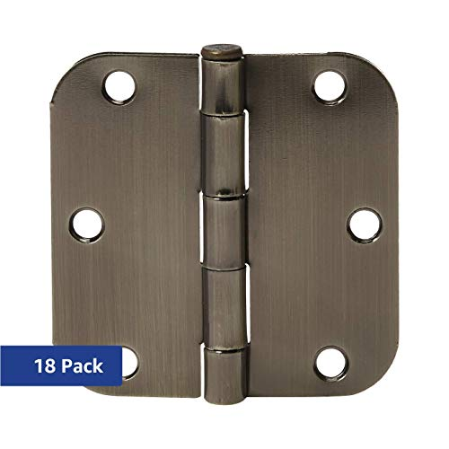 Door Hinges Antique - AmazonBasics Rounded 3.5 Inch x 3.5 Inch Door Hinges, 18 Pack, Antique Brass