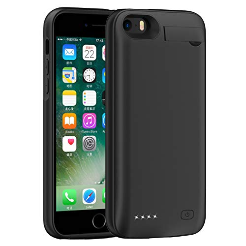 iPhone 5 5S SE Battery Case, 4500mAh Portable Protective Ultra Slim Charging Case Extended Rechargeable Charger Case for iPhone 5/ 5S/ SE (4.0 inch)-Black [NOT for 5C]