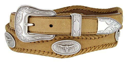 Big and Tall Mens Open Range Steer Western Cowboy Belt with Matching Conchos(BRN,50) (Big Cowboy Belt)