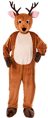 Inflatable Deer Costume (Forum Novelties Men's Reindeer Plush Mascot Costume, Brown, One Size(Fits up to Chest size)