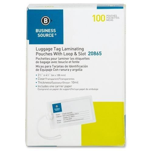 Business Source 20865 Laminating Pouch Tags w/Loop 10Mil 2-1/4x4-1/4, 100/BX CL