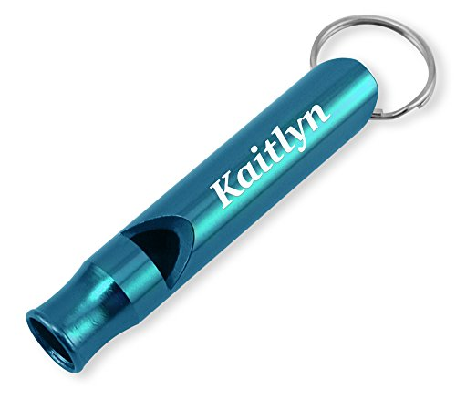 (Dimension 9 Laser Engraved Anodized Kaitlyn Metal Safety/Survival Whistle with Key)
