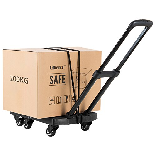 Ollieroo Cart Compact Personal Folding Hand Truck Luggage Cart with 6 wheels and Free Rope, 440 Lb Capacity Black by Ollieroo (Image #2)