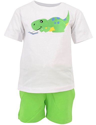 Unique Baby Boys Reading Dinosaur Back to School Summer Outfit (3T) White -