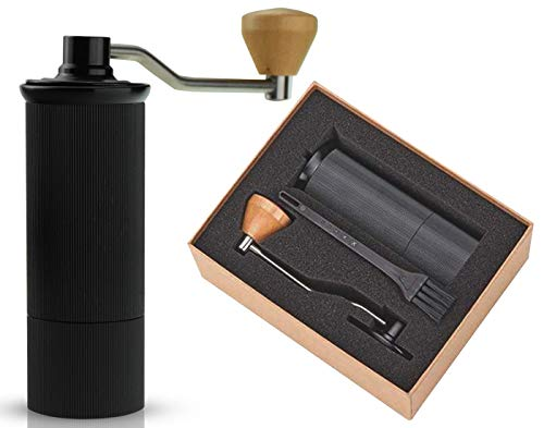 (Coffee Grinder Manual Bur | Slim Portable Stainless Steel | With Custom Wooden Hand Grip. Capacity, 20 Grams)