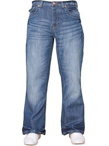 Uomo Da Blu Nuovo Denim Di Lavaggio Basic Taglie Beige Larga Svasati Design Vita Svasato Jeans Gamba Tutte 4tEwEnpqHz