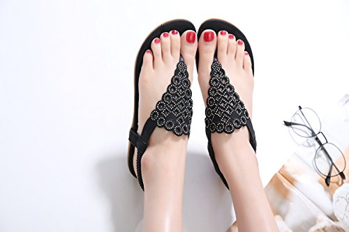 Estate Strass Sandali Spiaggia Clip Piatto Infradito Donna Punta Nero CARETOO Pantofole Boemia Scarpe Perline Piatti della 5YqT0A4w