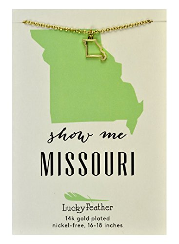 "Lucky Feather Missouri Shaped State Necklace, 14K Gold-Dipped Pendant on Adjustable 16""-18"" Chain"