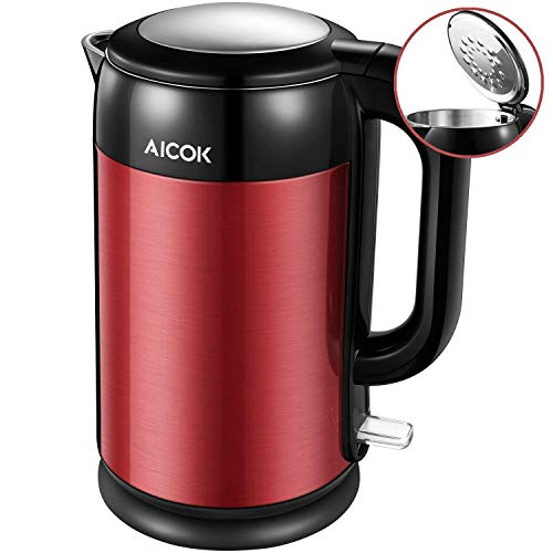 Electric Kettle Double Wall Stainless Steel Kettle, 1500W Ultra Fast Cordless Water Boiler, 100% BPA free with British Strix for Auto Off and Boil Dry Protection, 1.7L, by Aicok (British Electric Tea Kettle)