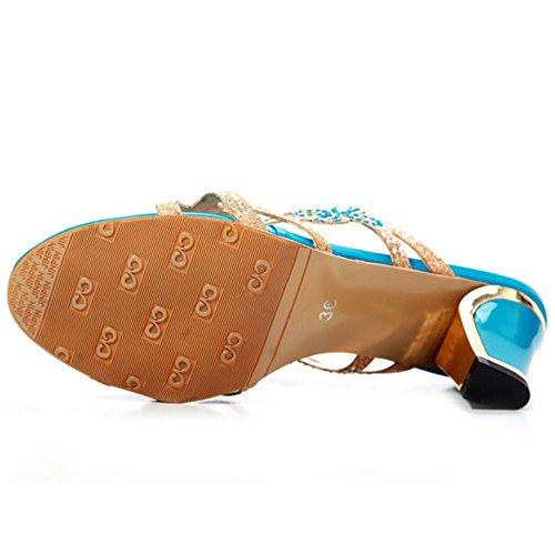Donne Slides Blue Zanpa Mules Sandali Tacco Moda xH06qWwfv