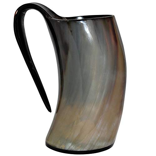 5MoonSun5's Genuine Viking Drinking Horn Mug Tankard handcrafted and polished finished | 16 Ounces