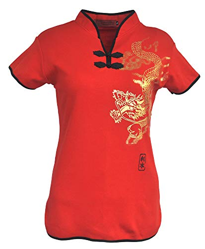 (Amazing Grace Elephant Co. Sexy Chinese Dress Top Modern Qipao Cheongsam Top (Large, Gold Dragon/Red))