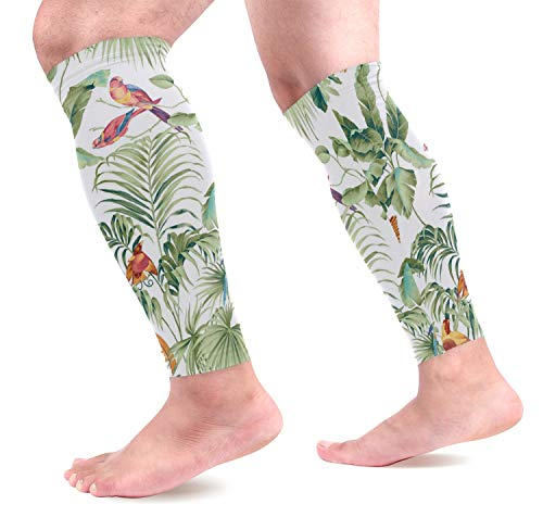 KEAKIA Jungle Canopy Spring Calf Compression Sleeves Shin Splint Support Leg Protectors Calf Pain Relief for Running, Cycling, Travel, Sports for Men Women (1 - Sleeves Canopy