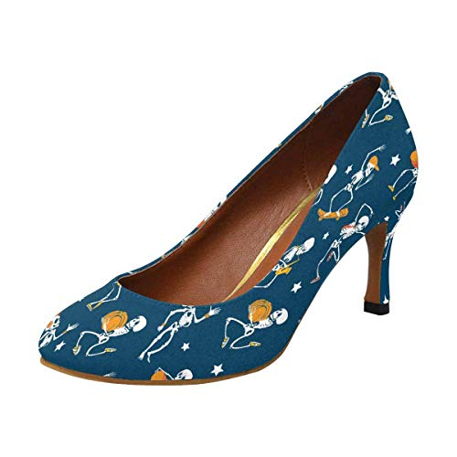 INTERESTPRINT Womens High Heels Pull On Fashion Dress Pump Dancing and Skateboarding Skeletons Haloween 8 B(M) US ()