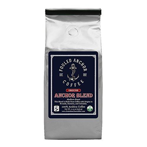 Ground Organic Specialty Coffee by Fouled Anchor, Medium Roast, Fair Trade, Great Tasting Small Batch Roasted, 11.5 oz