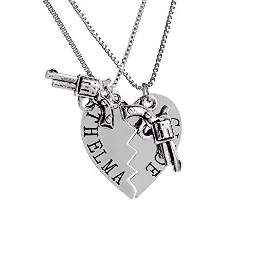 Happy New Year & Christmas Decorations M and F 1PC Pendant Necklaces Guns Heart Friendship Adventure Freedom Best Friends Forever Creative Girl Keepsake Gifts Color Silver