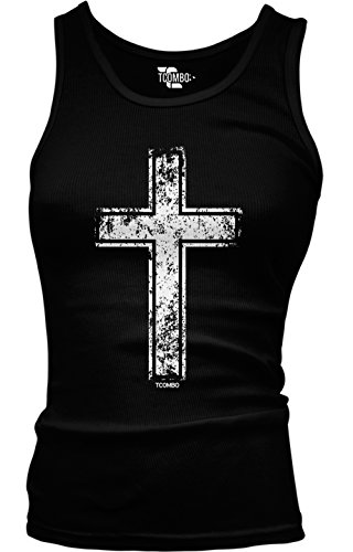 Tcombo Distressed Holy Cross - Christian Girls/Juniors Tank Top T-shirt (Large, Black) Christian Juniors T-shirts