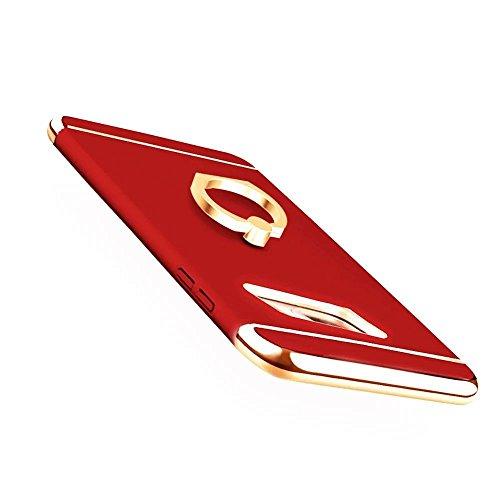 Funda Inteligente Libro Espejo WAKE UP / SLEEP Clear View Standing Cover para Samsung Galaxy S7 Edge, Vandot Slim Fit Smart Carcasa de Cuero + Plating PC Stand Flip Full Body Funda Protectora con Func Ring Rojo