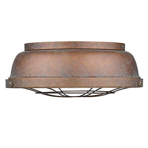 Golden Lighting 7312-FM CP Two Light Flush Mount, Bronze