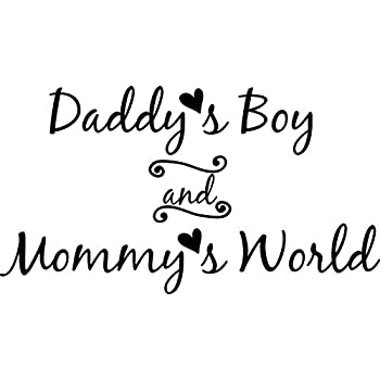 Wall Decal Quote Daddy\'s Boy and Mommy\'s World Wall Decal Sticker Art Mural  Home Decor Quote Baby Nursery
