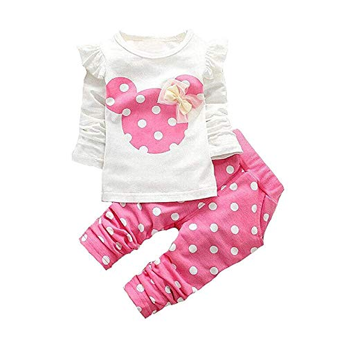 (Cute Toddler Baby Girls Clothes Set Long Sleeve T-Shirt and Pants Kids 2pcs Outfits (Pink, 18-24)