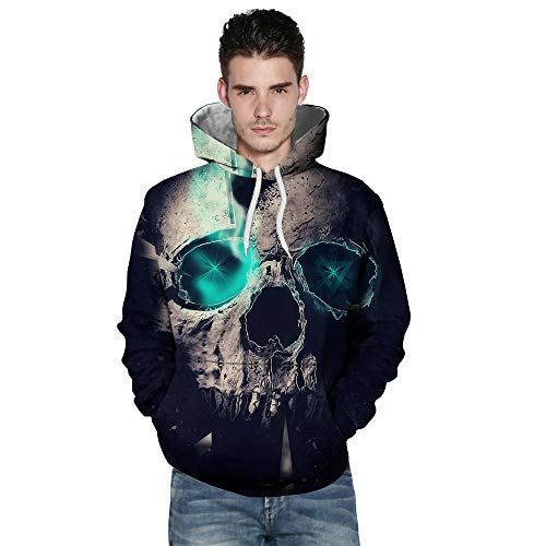 WUAI Clearance Halloween Costumes for Men Fashion 3D Skull Printed Casual Hoodies Sweatshirt Loose Fit Outwear(Black ,US Size 2XL = Tag 3XL)