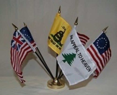 Historical Tea Party Gadsden Miniature Flag Desk Set, Model: , Office/School Supply (Wholesale Miniature Tea Sets)