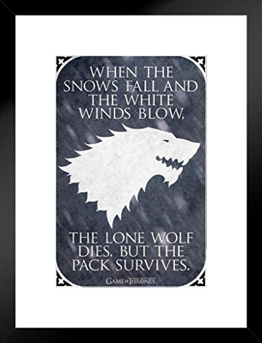 Pyramid America Game of Thrones Lone Wolf TV Show Matted Framed Wall Art Print 20x26 inch ()