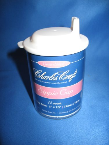 Charles Craft Cross Stitch Sippie Cup w/ White Lid and Vinyl Aida Insert - Free Design Included