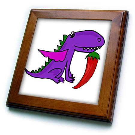 3dRose All Smiles Art Dragons and Unicorns - Cute Funny Purple Dragon eating Jalapeno Pepper Satire - 8x8 Framed Tile (ft_275764_1) Eating Framed