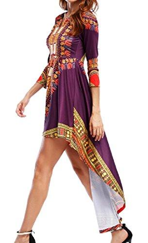 Coolred-donne Della Sirena Elegante Festa Dashiki Africano Irregolare Vestito Viola