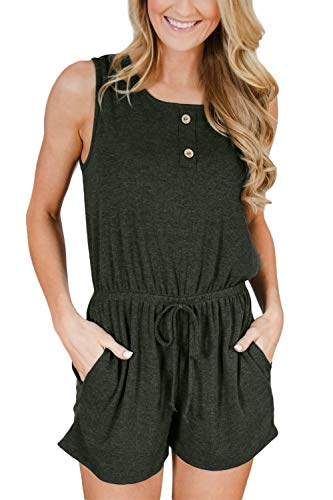 For G and PL Women's Loose Sleeveless Summer Short Jumper Pocket High Waisted Casual Romper Olive -