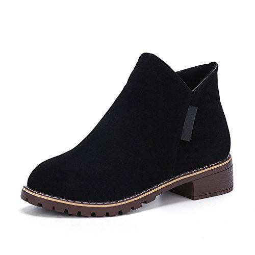 Chelsea Flat Office Women up Heel Biker Ankle Zip Black Shoes Boots Casual Boots Low Suede Gaorui zIw77n