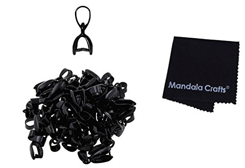 Mandala Crafts Metal Pinch Bail, Pendant Connector, Dangle Charm Clasp Clip for Jewelry Making; 50 PCs Finding Kit (Black, 5 X 14mm)