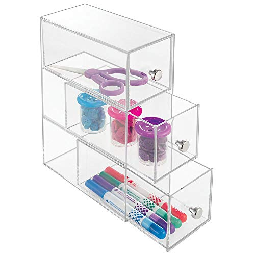 mDesign Art Supplies, Crafts, Crayons and Sewing Organizer - 3 Drawers