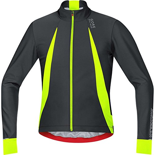 - Gore Bike WEAR, Men´s, Cyclist Jersey, Long Sleeves, Warm, Gore Windstopper, Oxygen, Size M, Black/Neon Yellow, SWOXLM