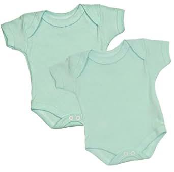 BabyPrem Preemie Baby 2 Plain Coloured Bodysuits / Vests 0 - 7.5lb AQUA P0