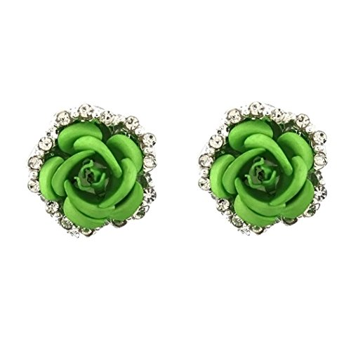 Rhinestone Earrings, Muranba Women Summer Bohemia Flower Rhinestone Earrings (Green 32) ()