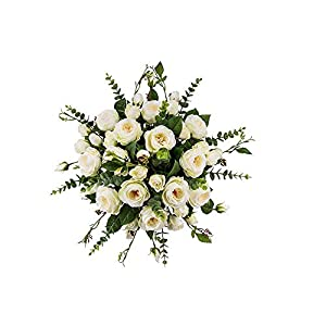 MARJON FlowersFake Flowers, Silk Flower Arrangement Handmade, Artificial Cream English Roses with Eucalyptus for Home Décor Party Wedding Centerpiece 94