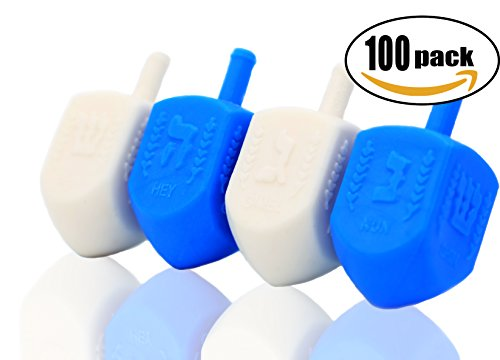 Hanukkah Blue and White Plastic Dreidel (100-Pack) by The Dreidel Company