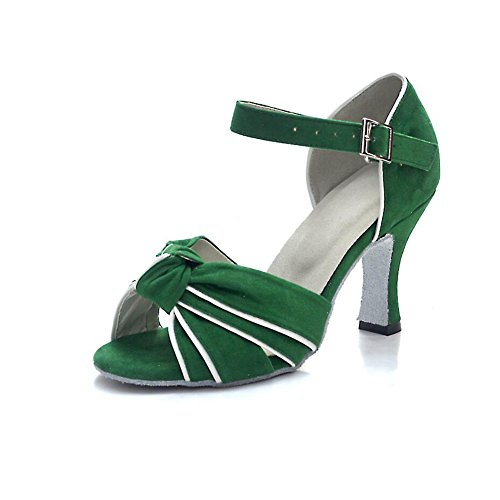 37 Shoes Heel Green Indoor Women's A Latin Size Dance Buckle Party Satin Ballroom Evening Shoes Color A Shoes amp; Sandal XUE wHnICzq11