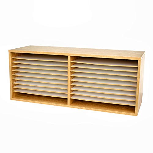 AdirOffice Extra-Wide Wooden Construction Paper Organizer - Durable Literature Storage w/Adjustable Compartment Shelves for Home Office & Classroom Papers (Medium Oak)