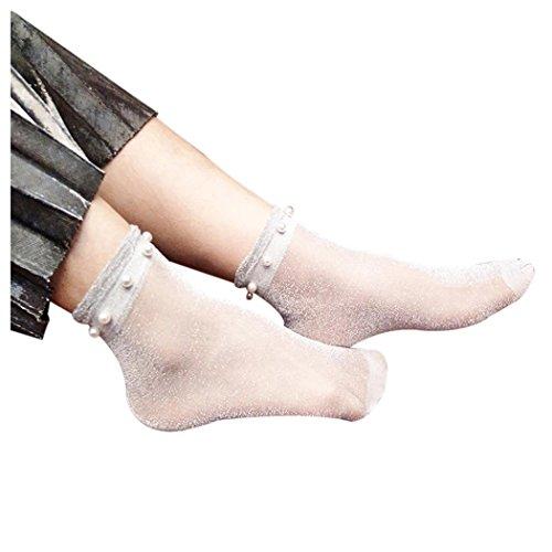 Women Fishnet Socks, Inkach Stylish Girls Summer Glitter Soft Lace Fishnet Mesh Ankle Short Socks Stockings C