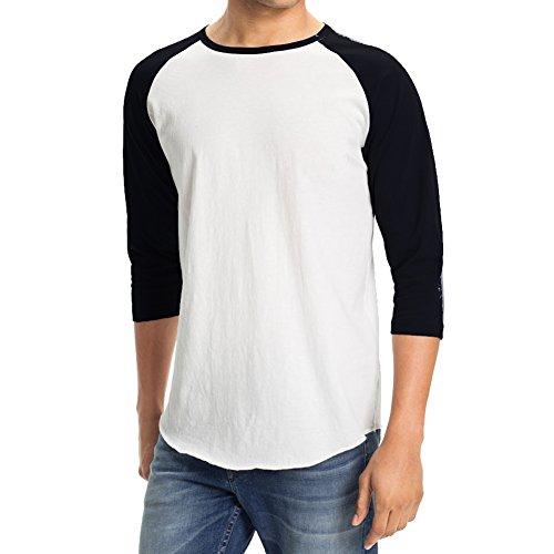 Men's Plain Baseball Athletic 3/4 Sleeve 100% Cotton Tee Shirt (Medium, White/Black)