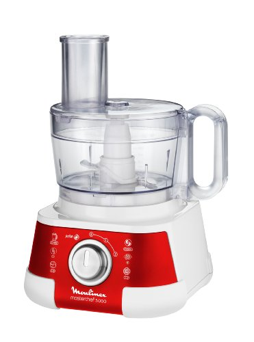 Moulinex FP518G Kompakt-Küchenmaschine Masterchef 5000 (750 Watt, 2.2 L Volumen, 2 Geschwindigkeitsstufen) rot/weiß