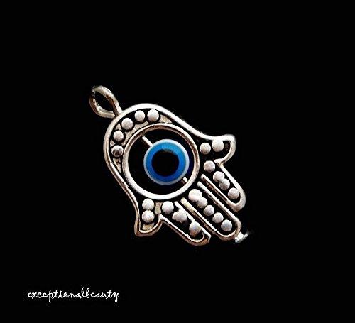 Pendant Jewelry Making 10 Antiqued Tibetan Silver Two 2 Sided Fatima Hand Evil Eye ICU Bead Drop Charms