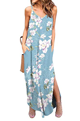 Donnalla Womens Summer Casual Loose V-Neck Dress Spaghetti Strap Sleeveless Split Maxi Dresses(Blue Floral Small)